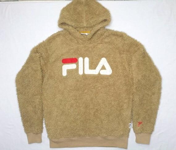 FILA big logo Terry Cloth hoodie size S
