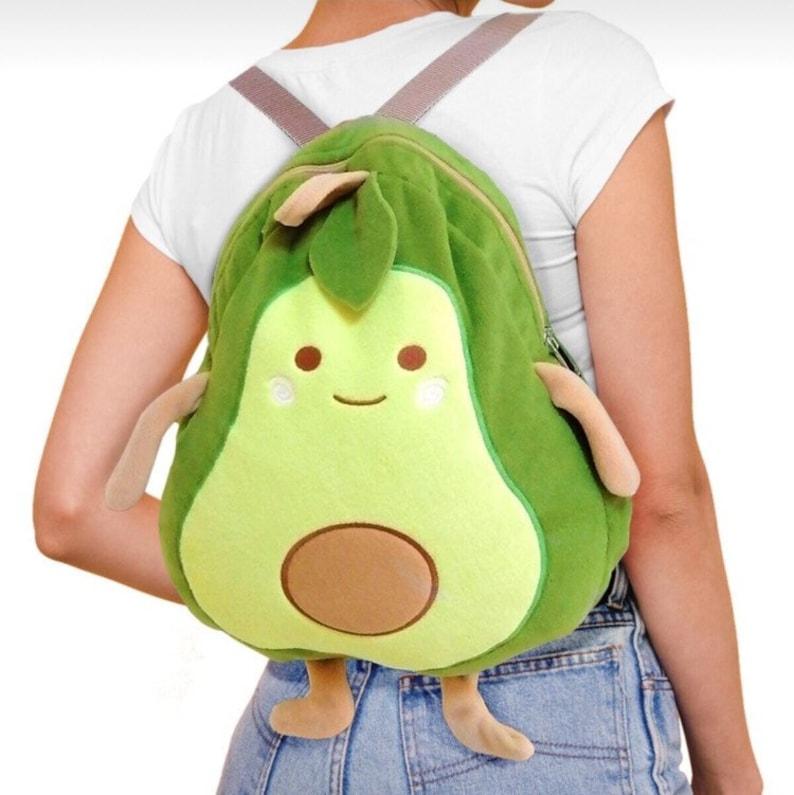 Cute Avocado Backpack Green Avocado Plush Backpack