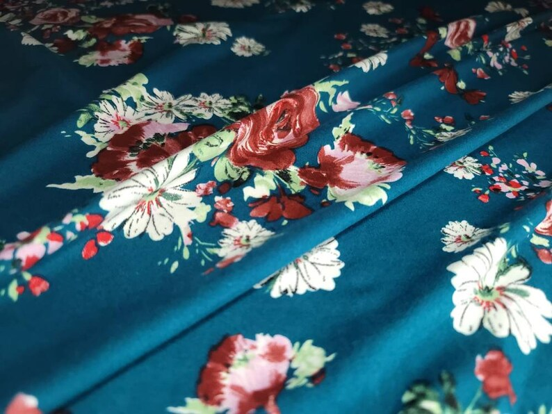 Double Brushed Spandex Fabric Teal Floral Print By The Yard 60\u201d