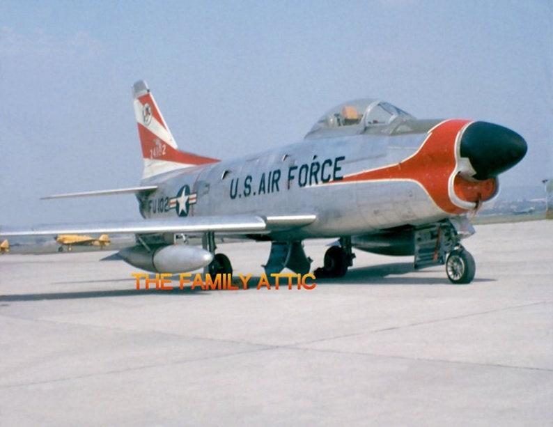 F-86D Sabre PHOTO US Air Force Jet Plane Tarmac Hahn AFB West Germany 1957 Flight Line
