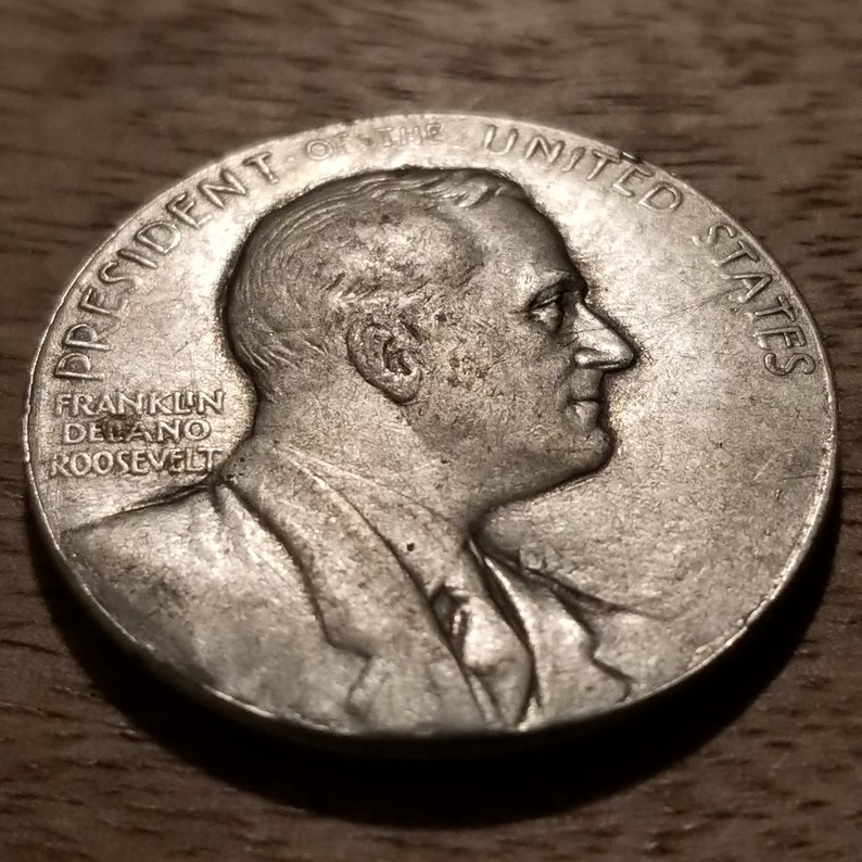 Large Size 1937 FDR Silver Prosperity Token Jennings Hood Jewelry Roosevelt Re-Election Coin
