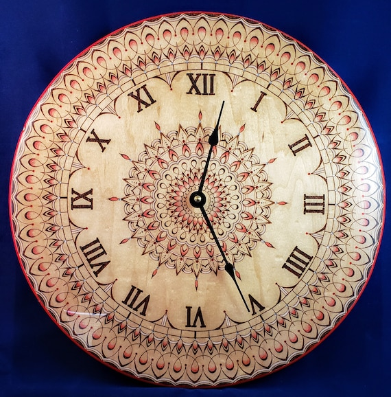 14 inch Pyrography Art Clock with Mandala and Resin, Wood Burning, Home Decor, Wall Hanging,
