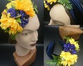 1940s Hair Accessories- Flowers, Snoods, Clips, Wigs, Bandannas Royal blue yellow velvet knot hair bandalice band with detachable flower corsage $27.31 AT vintagedancer.com
