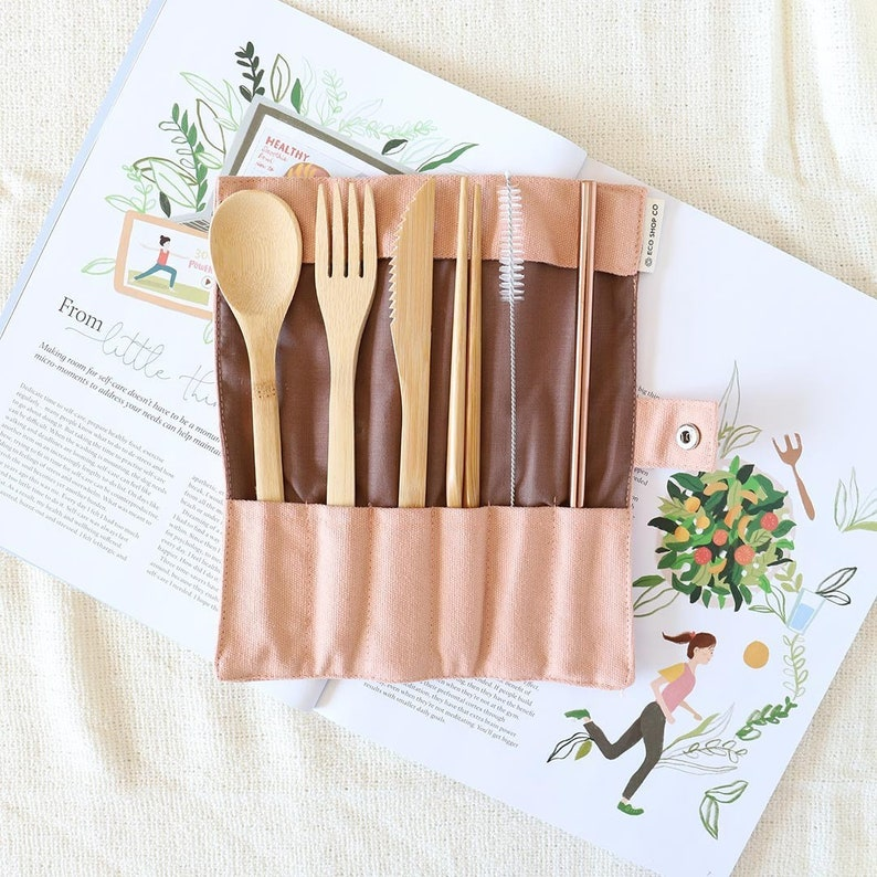 Travel Cutlery Set  Bamboo Cutlery Set  Reusable Cutlery Set image 0