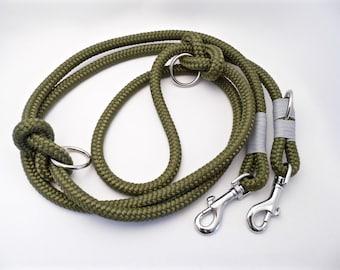 Dog leash triple adjustable silver
