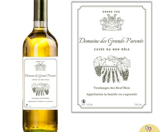 Original Pregnancy Announcement - Special Wine Label Grandparents, Grandparents' Backs