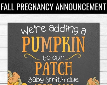PERSONALIZED PREGNANCY ANNOUNCEMENT for Fall   Personalized Printable Baby Announcement   Thanksgiving     Halloween   Instant Download