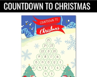Countdown til Christmas,Christmas countdown,Christmas countdown printable,Days until Christmas countdown,Santa countdown,advent calendar