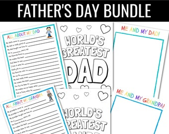 Father's Day BUNDLE | All About My Dad INSTANT Download | |Kids Fathers Day | Dad Gift | Father's Day Questionnaire | Father's Day Card