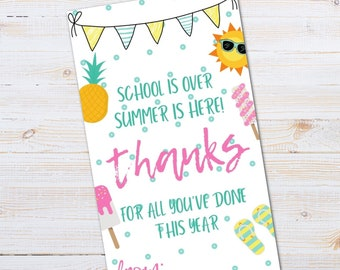 TEACHER GIFT TAG,School's Out Summer Is Here Thank You Tag,Teacher Appreciation, End Of School,Teacher Gift,Printable Gift Tag for Teacher