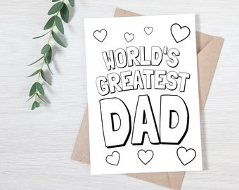 FATHER'S DAY Card   World's Greatest Dad INSTANT Download    Kids Fathers Day   Dad Gift   Father's Day Questionnaire   Father's Day Gift