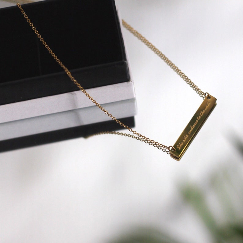 13 Engraved Gold Bible Verse Necklace Matthew 24 She Who Endures To The End