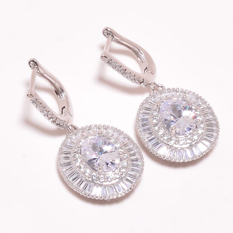 Personalize Gift Valentine/'s day Girls Earring 20/% Off White Topaz 925 sterling Silver earring Gemstone Jewelry Gift For Her