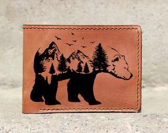 Leather wallet bear,Bear wallet,Polar bear wallet,Wallet bear,kids wallet,Custom wallet,Engraved wallet, Personalized wallet,Father gift