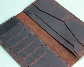 Mens long leather wallets bifold