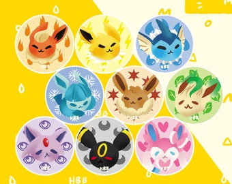 """Pokemon Eeeveelutions [3 Button Pack] - 1.5"""" - Eevee Jolteon Vaporeon Flareon Glaceon Leafeon Umbreon Espeon Sylveon"""
