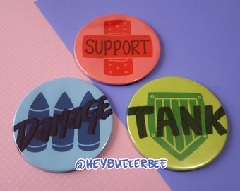 """Overwatch Roles - DPS Tank Support [Coasters] - 3.5"""""""