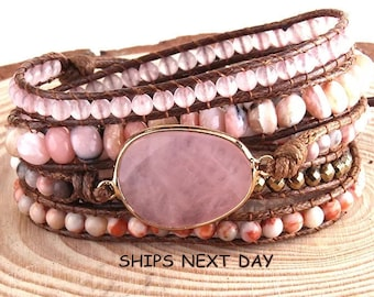 Boho Leather 5 Strands Wrap Bracelet, Bohemian Wrap Bracelet, Natural Gemstone Wrap Bracelet, Adjustable Length Brown Leather Multi Strand