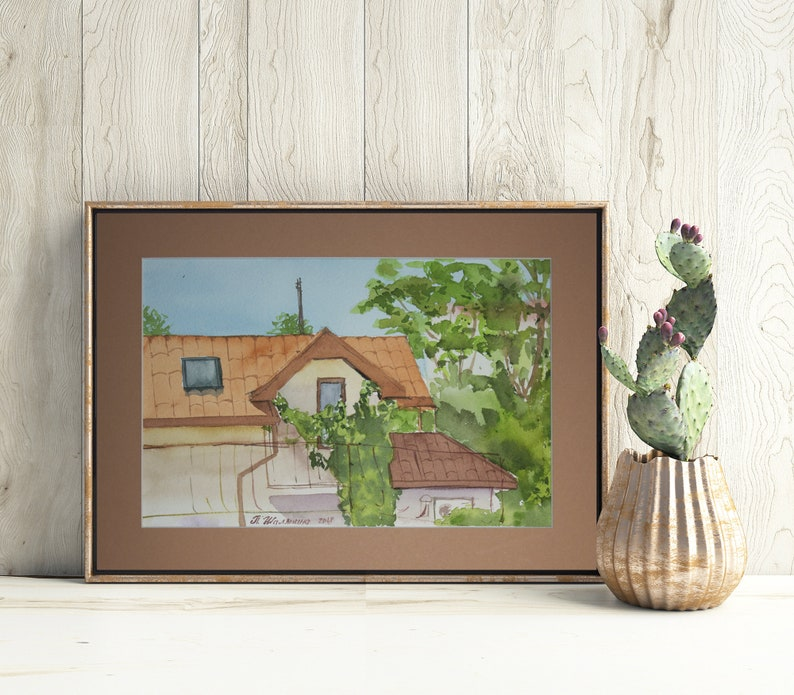 Red Roof Painting House Original Art Window Artwork With Frame Mat 9 by 12.5 by Polina Shalyapina