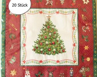 20 Paper Napkins Christmas Tree Christmas Tree Christmas Tree Balls Snowman Star Ilex Decoupage Napkin Technology Table Decoration