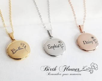 Personalized Birth Flower Engraved Photo Locket Necklace, Gold/Silver/RoseGold Locket, Birthday Gift, Girls Locket, Christmas Gift