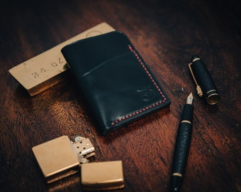 Horween (black) shell cordovan wallet. Minimalist handmade wallet. Red stitching. Small Wallet. Hand Sewn. Luxury wallet. Excellent quality.