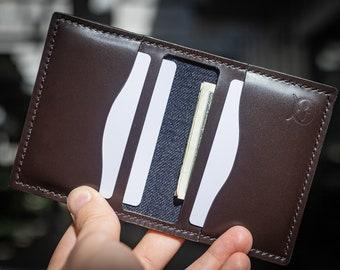 Minimalist Card Wallet, Card Holder, Italian Leather, Minimalist Wallet, Bifold Wallet, Denim