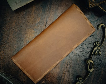 Italian leather long wallet. Japanese denim lining. Snap closure. 100% hand made. Hand sewn. Rugged Wallet. Large Wallet. Cash wallet.