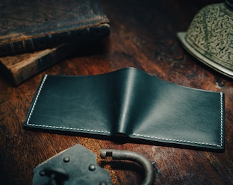 Navy (dark) blue Horween leather wallet. Pebbled Italian (Tuscany) leather interior. Midnight blue leather. Hand made. Dignified style.