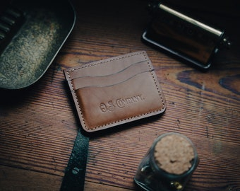 Brown (whisky) Italian leather minimalist wallet. French goat skin liner. Card Wallet. Small Wallet. Front pocket wallet. Hand stitched.