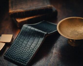Black alligator wallet. Italian leather interior. Vintage style mens wallet. Luxury wallet. Card holder. Hand sewn.