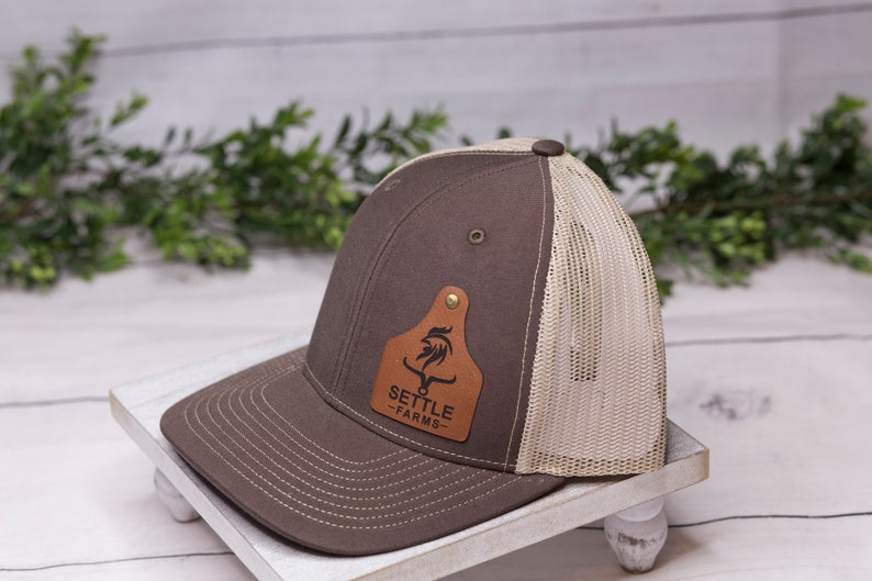 16 Custom Cattle tag hat Leather engraved Hat logo hats Cap Leather patch hat