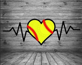 Softball Heartbeat Etsy