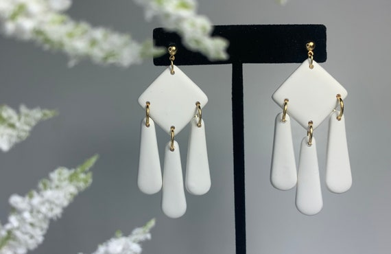 Marble White Earrings polymer clay and epoxy resin