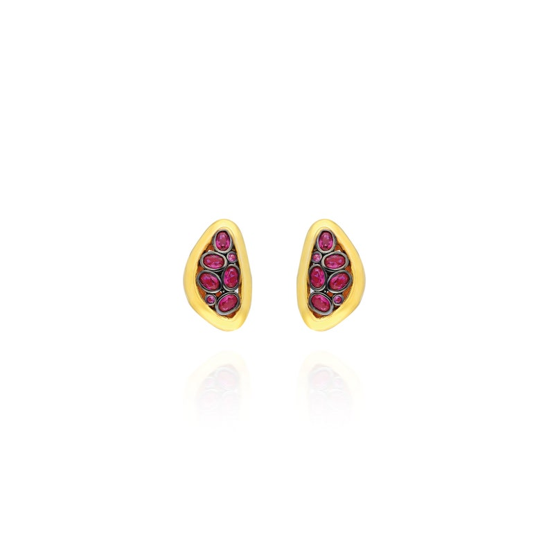 925 Sterling Silver  24k gold and Black Rhodium Plated  Handmade  Drop Earrings  Ruby Red Zircon Stone