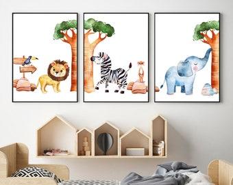 Safari Nursery Prints, Nursery Prints, Nursery Wall Art, Baby Room Prints, Baby Room Decor, Nursery Animal Prints, Safari Nursery