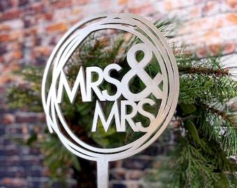 Mrs. and Mrs. Cake Topper - Lesbian Wedding Cake Topper - LGBT Wedding Cake - Female - Misses and Misses
