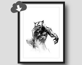 Warewolf Halloween Decor Drawing Print