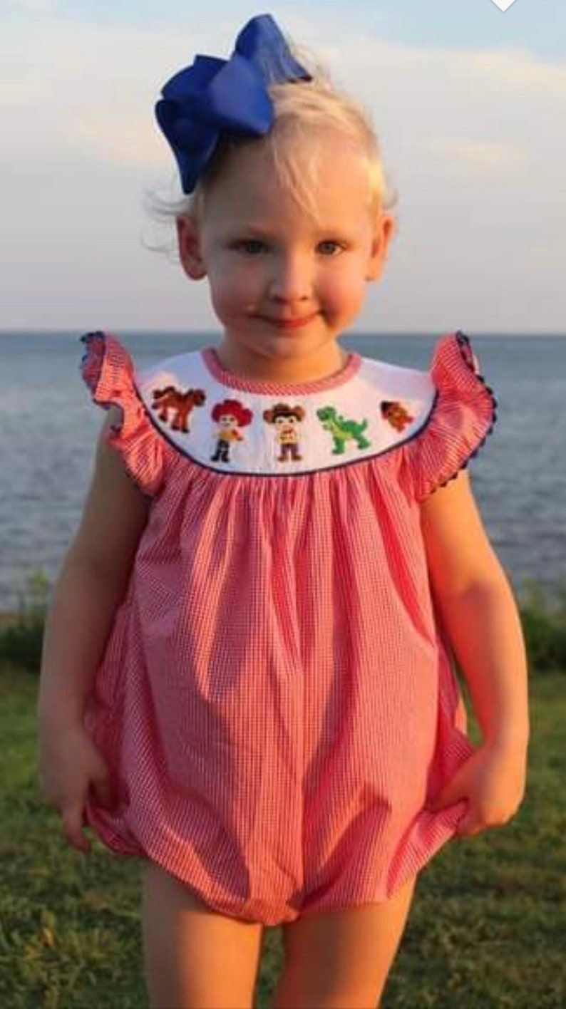 Disney Inspired Toy Story Girl/'s Smocked Bubble Outfit