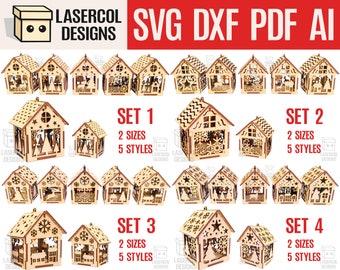 Christmas House Ornaments Bundle (Set 1-2-3-4) - Laser Cut Files - SVG+DXF+PDF+Ai - Glowforge Files - Instant Download - Nightlight