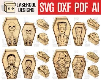 Halloween Coffin Boxes Bundle  (Set 1-2-3-4) - (2 Sizes) - Laser Cut Files - SVG+DXF+PDF+Ai - Glowforge Files - Instant Download