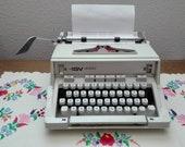 Typewriter vintage Hermes 3000, portable typewriter with suitcase, white, works perfectly, Switzerland- Hungary, 1970s