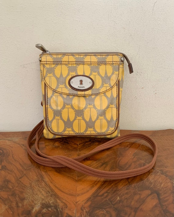 Fossil Key-Per Cross Body Shoulder Bag Purse Coated Canvas Yellow Beetles