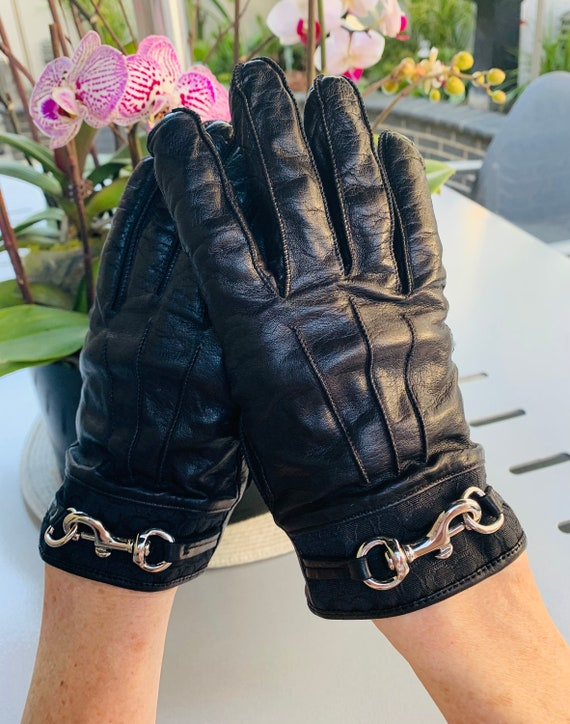 Coach Gloves, Black Leather, Women's Size 8