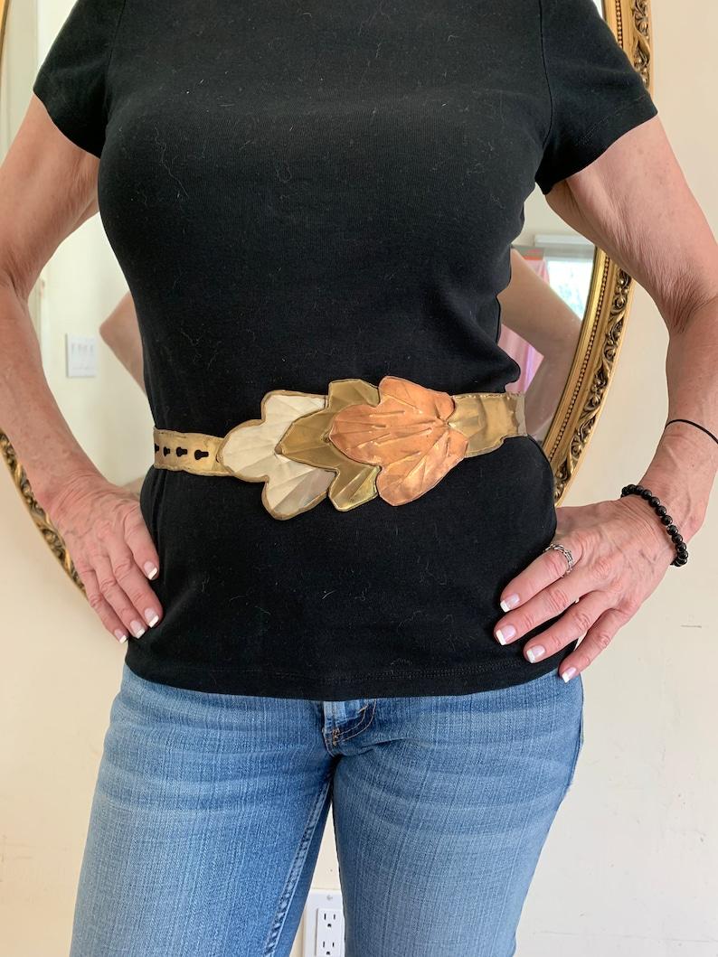 Leaf Art Solid Brass Structured Belt