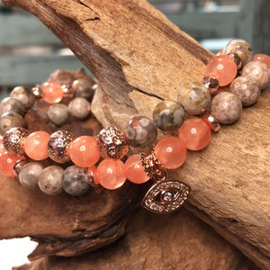 Scorpio Gemstone Bracelet Astrology Bracelet November Birthday Smoky Quartz Boho Jewellery and Rhodonite 8mm Beads Gift Mala Bracelet