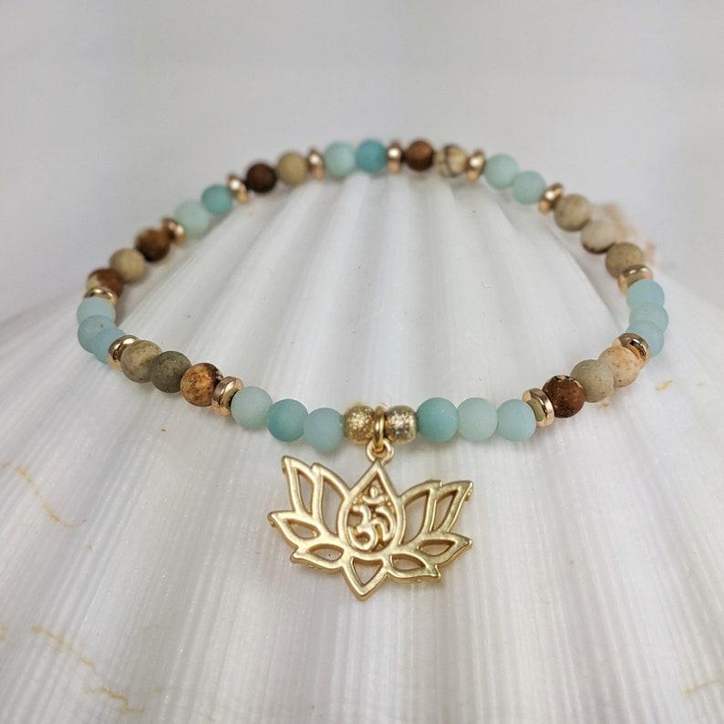 Inner Peace and harmony wrist mala set stacking yoga bracelet Amazonite and Jasper bracelets layering calming meditation bracelets