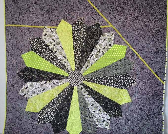 Giant Dahlia modern art quilt,  60x60  lime green, black and gray