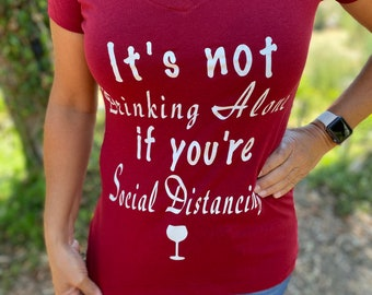 Funny drinking V- Neck T Shirt Women's