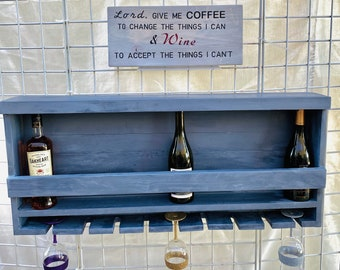 Large Wood Wine Glass Bar Rack